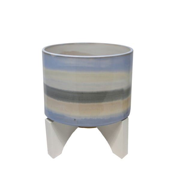 Shop Round Ceramic Planter On Wooden Stand Large Multicolor Free