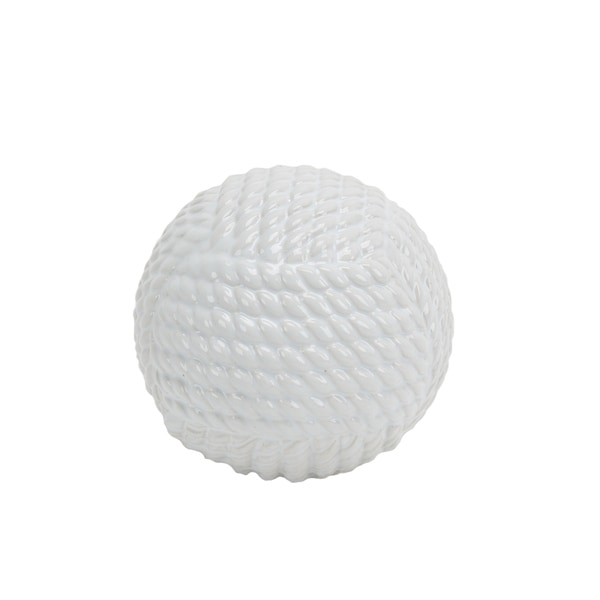 Decorative Ceramic Orb with Rope Textured Surface, Small, White