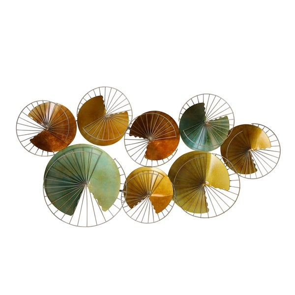 Aesthetic Iron Wall Sculpture with Irregular Circles Design, Multicolor