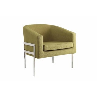 Link to Wensley Contemporary Faux Linen and Chrome Accent Armchair Similar Items in Arm Chairs