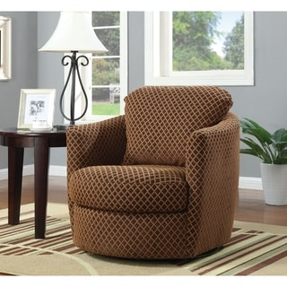 Shop Swivel Accent Chair With Calligraphy Pattern Free