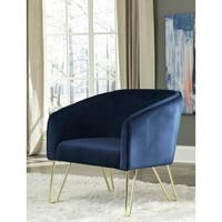 Silver Orchid Serda Velvet and Brass Accent Armchair