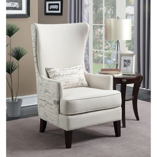 Shop Gramercy Embroidered Linen Wing Chair Free Shipping