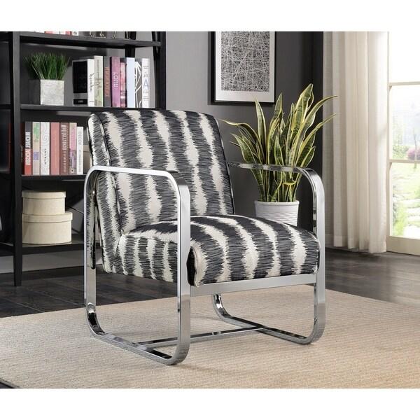 Shop Sebastian Contemporary Chrome Striped Accent Chair