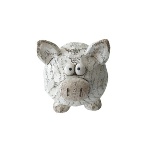 Decorative Polyresin Pig Figurine with Textured Details, White and Brown