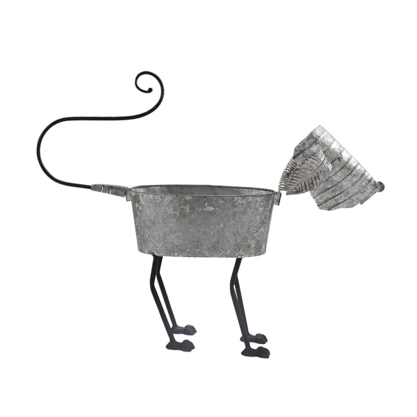 Galvanized Tin Dog Shape Planter with Four Paws and Long Tail, Gray and Black
