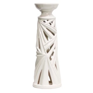 Ceramic Palm Leaf Candle Holder with Hollow Base and Wide Circular Top, Large, White