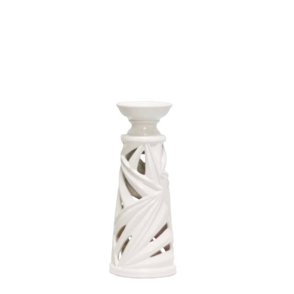 Ceramic Palm Leaf Candle Holder with Hollow Base and Wide Circular Top, Small, White