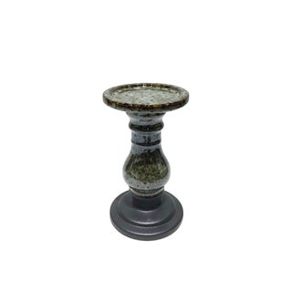 Two Tone Ceramic Candle Holder, Small, Gray and Black
