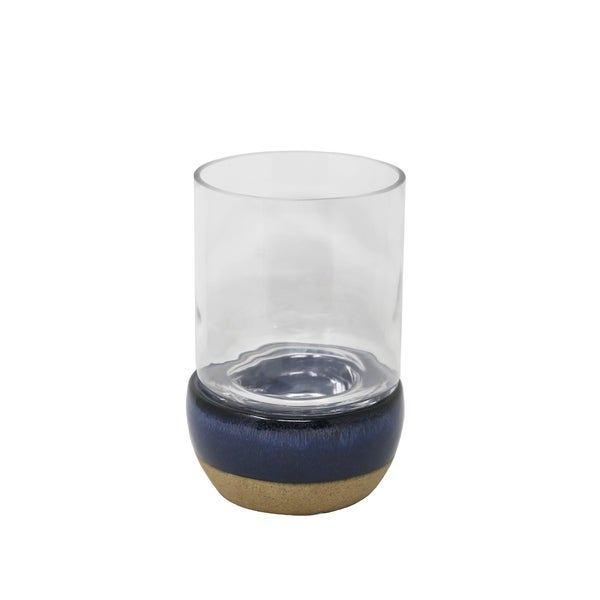 Glass Hurricane Candle Holder with Dual Tone Ceramic Base, Blue and Beige