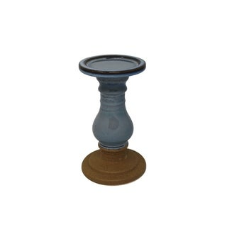 Pedestal Shape Two Tone Ceramic Candle Holder, Small, Blue and Brown