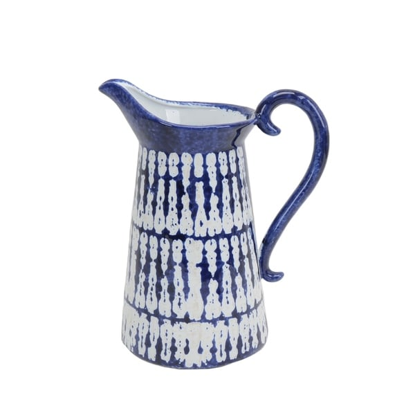 Textured Ceramic Pitcher with Attached Handle, Blue and White