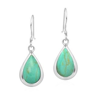 Handmade Elegant Teardrops of Stone Inlay Sterling Silver Dangle Earrings (Thailand)