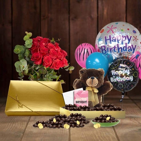 Shop 28th Birthday Gift Basket Plush Teddy Bear Premium California Vegan Chocolate Coated Ginger Handwritten Card