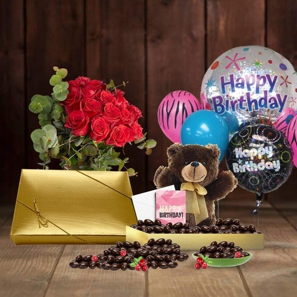 Shop 20th Birthday Gift Basket Plush Teddy Bear Premium California Vegan Chocolate Coated Cranberries Handwritten Card