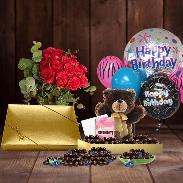Shop 50th Birthday Gift Basket Plush Teddy Bear Premium California Vegan Chocolate Coated Blueberries Handwritten Card