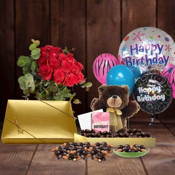 Shop 75th Birthday Gift Basket Plush Teddy Bear Premium California Vegan Chocolate Coated Almonds Handwritten Card