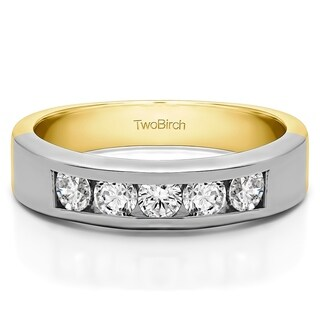 10k Gold Five Stone Straight Channel Set Wedding Band Mounted With Diamonds G H I2 0 5 Cts Twt