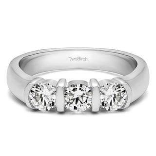 10k Gold Three Stone Bar Set Wedding Ring Mounted With Diamonds G H I2 0 48 Cts Twt