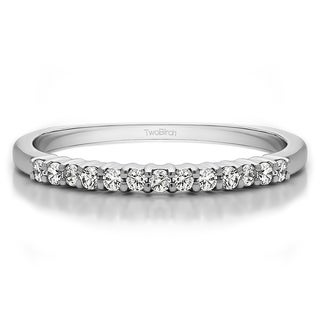 Platinum Double Shared Prong Thin Wedding Band Mounted With Diamonds G H I2 0 25 Cts Twt