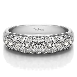 Platinum Double Row Pave Set Domed Wedding Ring Mounted With Diamonds G H I2 1 05 Cts Twt