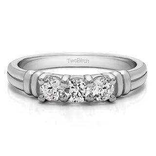 Platinum Three Stone U Set Ribbed Shank Wedding Ring Mounted With Diamonds G H I2 0 48 Cts Twt