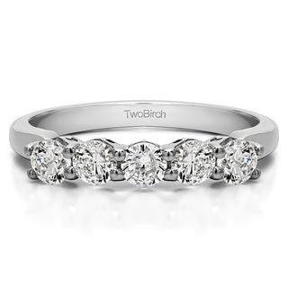 Platinum Five Stone Shared Prong With Designed Profile Wedding Ring Mounted With Diamonds G H I2 0 75 Cts Twt