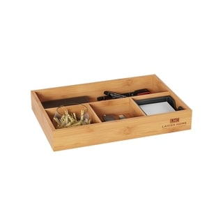 4 Compartment Bamboo Drawer Divider – Space Saving Natural Wooden Tray Storage Organizer by Lavish Home
