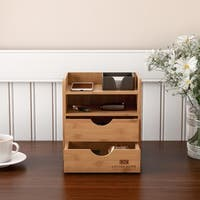 4-Tier Bamboo Desk Organizer - Wooden Office Supply Storage Accessory with Drawers and Natural Finish by Lavish Home
