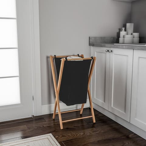 Foldable Bamboo Laundry Hamper - Lightweight Space Saving Collapsible X-Frame Linen Sorter with Natural Finish by Lavish Home