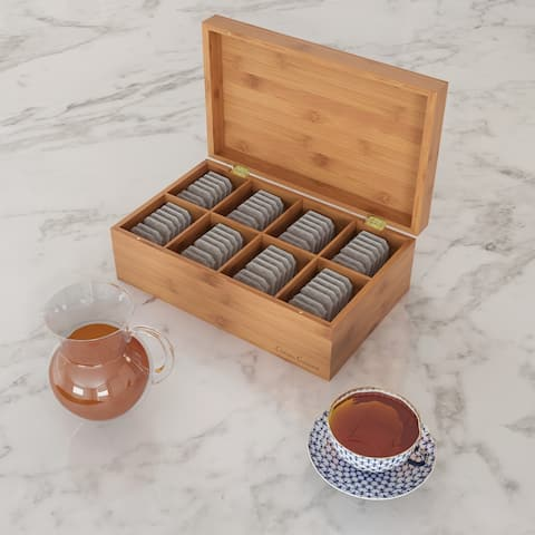 Bamboo Tea Box Storage Organizer- 8 Compartment Chest for 120+ Standing or Flat Tea Bags, Natural Wood by Classic Cuisine