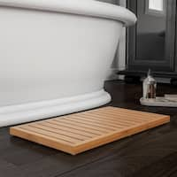 Bamboo Bath Mat-Eco-Friendly Natural Wooden Non-Slip Slatted Design Mat for Indoor and Outdoor by Lavish Home - 23.75x13.75x1.25