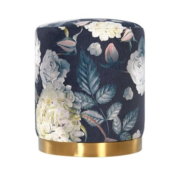 Fabulous Shop Opal Floral Velvet Ottoman Free Shipping Today Cjindustries Chair Design For Home Cjindustriesco