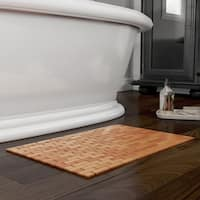 Bamboo Bath Mat-Eco-Friendly Natural Wooden Non-Slip Roll Up Lattice Design Mat for Indoor or Outdoor by Lavish Home