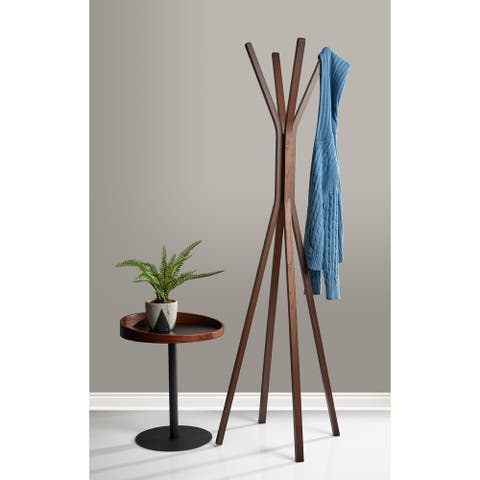 Adesso Toby Natural or Walnut Wood 68-inch Coat Rack