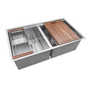 Ruvati 30-inch Workstation Ledge 50/50 Double Bowl Undermount 16 Gauge Stainless Steel Kitchen Sink - RVH8345