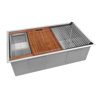Ruvati 32-inch Workstation Ledge Undermount 16 Gauge Stainless Steel Kitchen Sink Single Bowl - RVH8301