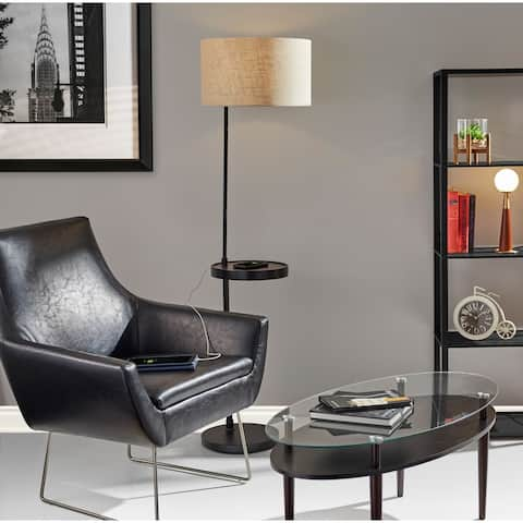 Adesso Kendrick Distressed Black or Camel Leather Chair