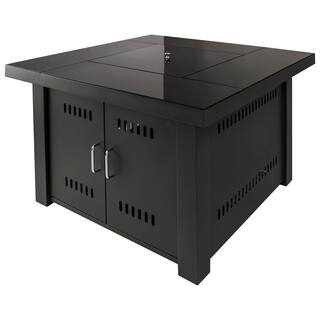 Havenside Home Sylvestere Hearth Sheridan Black Steel Gas Fire Pit Table