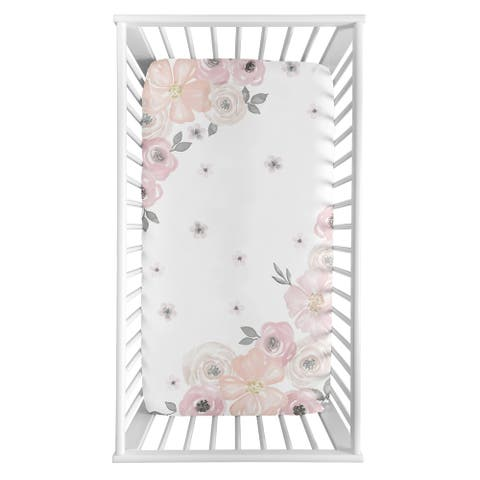 Sweet Jojo Designs Blush Pink, Grey and White Photo Op Watercolor Floral Collection Fitted Crib Sheet
