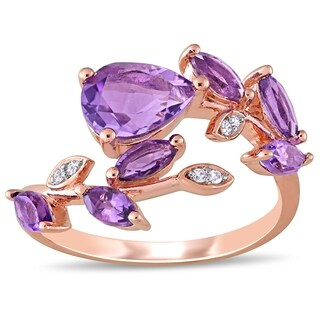 Laura Ashley African Amethyst And Diamond Bypass Ring In Rose Plated Sterling Silver