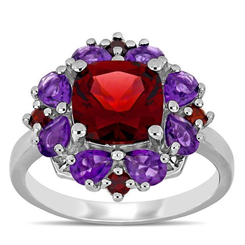 Miadora Sterling Silver Garnet and African-Amethyst Floral Cluster Ring