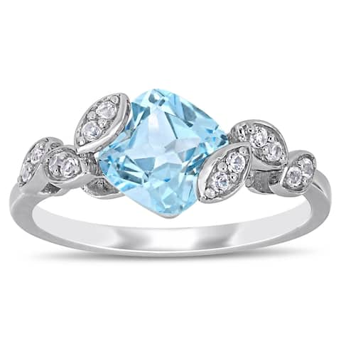 Laura Ashley Sky Blue Topaz and Created White Sapphire Crossover Leaf Ring in Sterling Silver