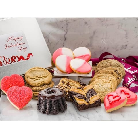 Happy Valentines Day Holiday Gift Tin- Elegant Food Gift Box Decorated Pastries and Cookies