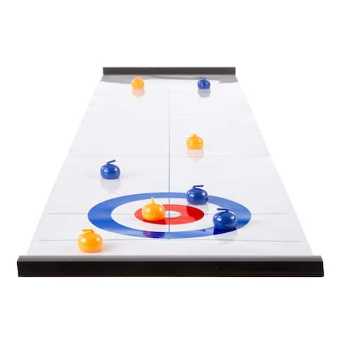 Tabletop Curling Game - Portable Indoor Desktop Roll Up Magnetic Competition Board Game with Eight Stones by Hey! Play!
