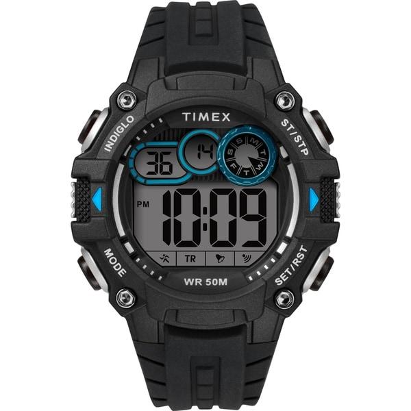 Timex Men's TW5M27300 Big Digit DGTL 48mm Black/Gray/Blue Silicone Strap Watch - N/A
