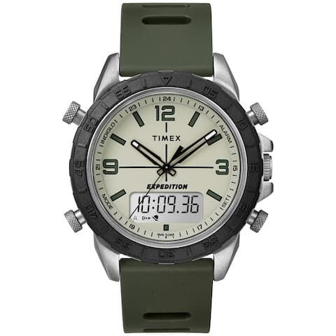 Timex Men's TW4B17100 Expedition Pioneer Combo 41mm Green/Black/Natural Silicone Strap Watch - N/A