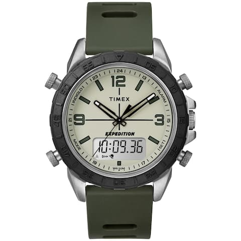 Timex Men's TW4B17100 Expedition Pioneer Combo 41mm Green/Black/Natural Silicone Strap Watch