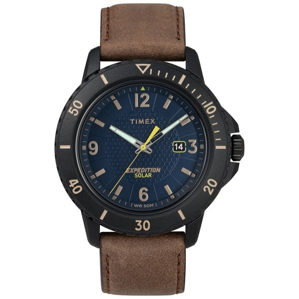 d7c4f6878 Timex Men's TW4B14600 Expedition Gallatin Solar Brown/Black/Blue  Leather