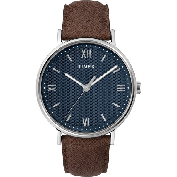 aca07f7eeeed Shop Timex Men s TW2T34800 Southview 41 Brown Silver Blue Leather Strap  Watch - N A - Free Shipping Today - Overstock - 26959380
